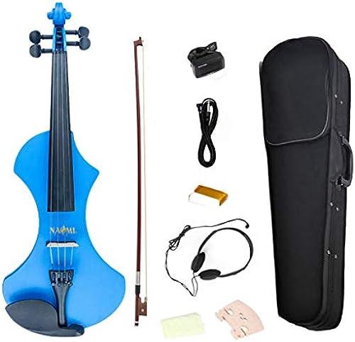 Homyl Professionelle 4 4 elektrische Violine Set, inkl. Koffer, Bogen und Kolophonium - Blau