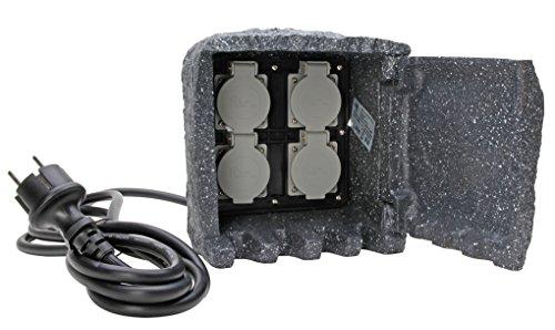 IBV Deutschland GmbH 145313012 Energiestation Steinoptik mit 4 Steckdosen und 3 m Gummikabel, 3680 W, 230 V, grau