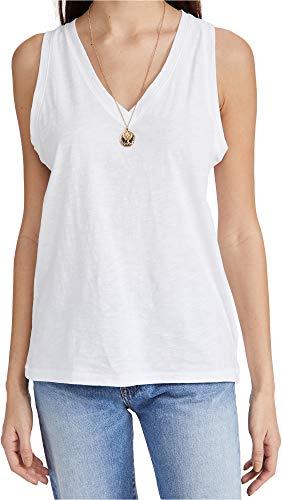 Madewell Women's Whisper Shout Cotton V Neck Tank, Optic White, Large