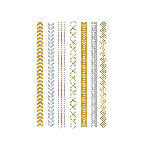 Autocollants de tatouage bronzage rétro autocollants de tatouage imperméables ensemble autocollants d'impression de couleur argent chaud-YH-080_148 * 210MM