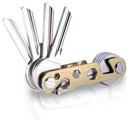 NEU - Hades Key Organizer Premium in edler Geschenkbox- Schlüsselhalter bis zu 16 Schlüssel & Smartphone Halter & Flaschenöffner (Gold)