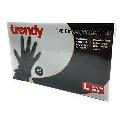 CLEO STYLE 100 guanti usa e getta in TPE, nero, taglia S, M, L, XL, senza polvere, senza lattice, 35 (S)