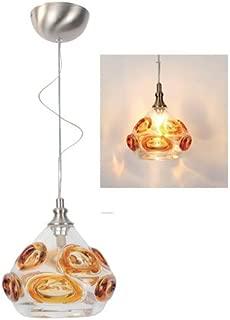 Viz Glass P0506-9010-1SN Free Formed Art Glass Pendant with Amber Nova Texture, Brushed Nickel Finish