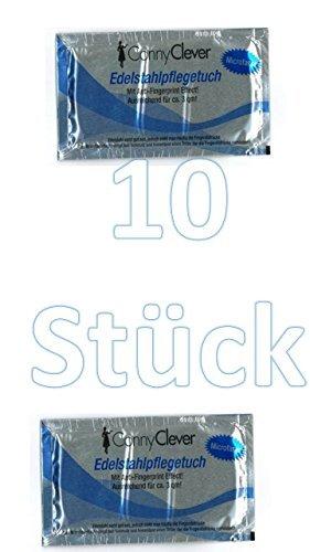 Edelstahlpflegetuch Mikrofasertuch 16x20 cm mit Anti-Fingerprint Effekt, Made in Germany, 10 Stück