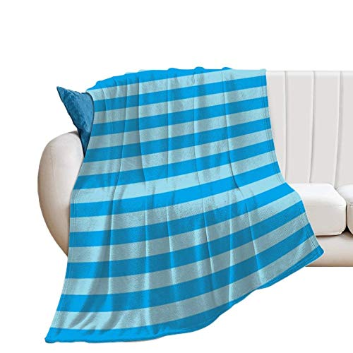 Donghouse Blanket Pastel Blue and Turquoise Stripes Flannel Blanket Comfort Velvet Touch Ultra Plush, Novelty Soft Throw Blankets fit Couch Sofa Bedspread Coverlet Bed Cover 60' X 80'