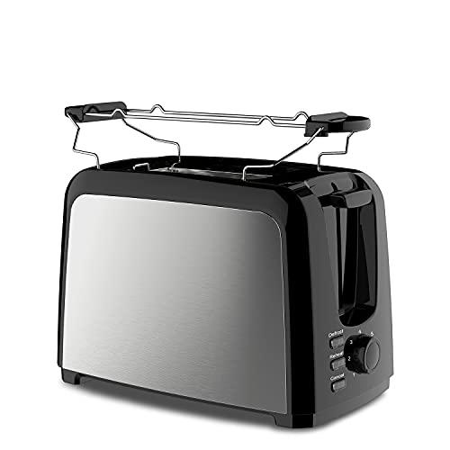 Slabo Toaster Tostadora de Acero Inoxidable con Accesorio para panecillos, tostar, descongelación, botón de Parada, 5 Niveles - 750W - Negro