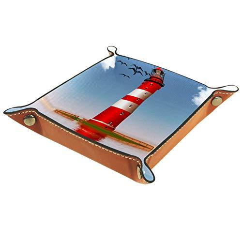HOHOHAHA Faltbares Würfeltablett aus PU-Leder für Uhren, Schmuck, Aufbewahrungsbox, Halter, Meer, Leuchtturm, Strand
