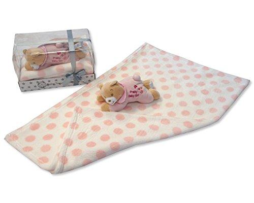 Bébés Rose doux 'Pretty bébé fille' Ours en peluche et couverture – Livré dans une boîte cadeau de