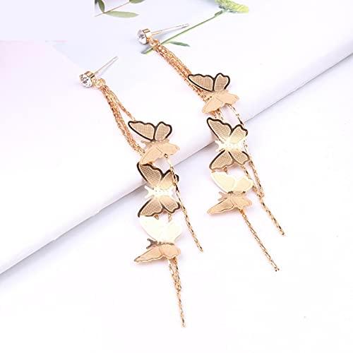 laowang666 Pendientes de Borla de Mariposa, Aguja de Plata, Pendientes Largos de Temperamento Dulce, joyería Mujer