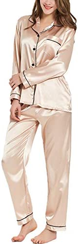SWOMOG Womens Silk Satin Pajamas Long Sleeve Loungewear Two Piece Sleepwear Button Down Pj Set product image