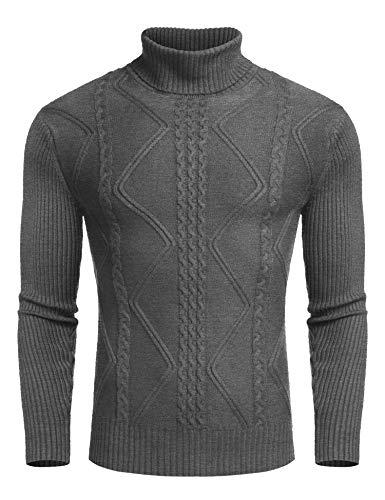 COOFANDY Heren coltrui fijn gebreid shirt met lange mouwen basic regular fit sweater trui
