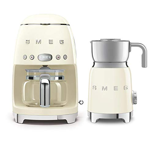 Smeg DCF02US 50's Retro Style Drip Filter Coffee Maker Bundle with Smeg MFF01 Milk Frother (Cream)