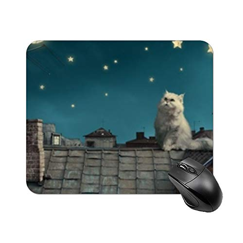 """Yilooom White Persian Cat Kitten Fairy Tale Fantasy Roofs Houses Sky Night Stars Rectangle Non Slip Rubber Mousepad Gaming Mouse Pad 9""""x7"""""""