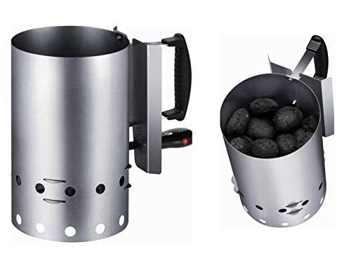 Elektrischer Grillanzünder Elektrisch 600 Watt Anzündkamin Edelstahl (Grillkohleanzünder, Große Zündfläche, Grillzubehör)