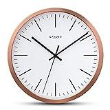 Cander Berlin MNU 2130 Wanduhr lautlos Kupfer 30,5 cm Kupferuhr weiß modern Kupferwanduhr ohne Ticken