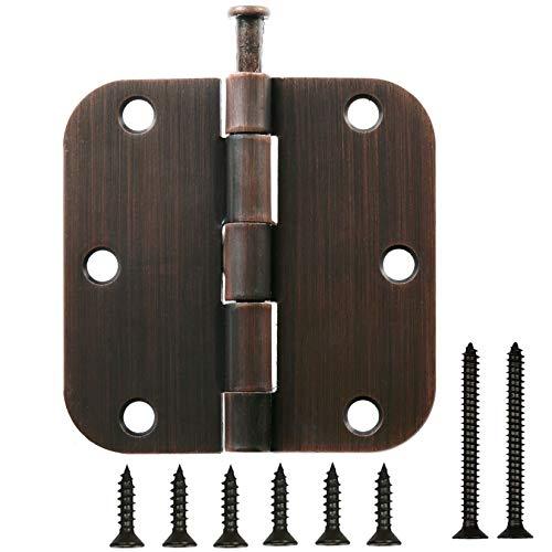 18 Pack   3.5' Oil Rubbed Bronze Door Hinges: 3.5 Inch x 3.5 Inch (5/8 Inch Radius Corner) Door Hardware