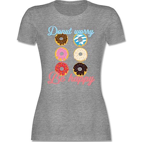 Sprüche - Donut Worry be Happy blau/rosa - S - Grau meliert - Tshirt Donut Damen - L191 - Tailliertes Tshirt für Damen und Frauen T-Shirt