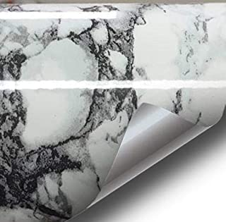 Black White Veined Marble Gloss Vinyl Architectural Wrap for Home Office Furniture Wallpaper Tile Sheet 6.5ft x 15.9 inches Roll (6.5ft x 15.9 inches 2-roll Pack)
