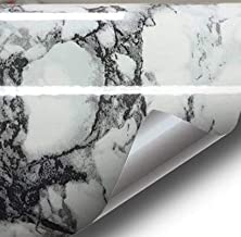 Black White Veined Marble Gloss Vinyl Architectural Wrap for Home Office Furniture Wallpaper Tile Sheet 24 inches x 6.5ft ...