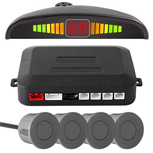 Sensor De Estacionamento para Ré com 4 Sensores e Display de Aviso Sonoro (Prata)