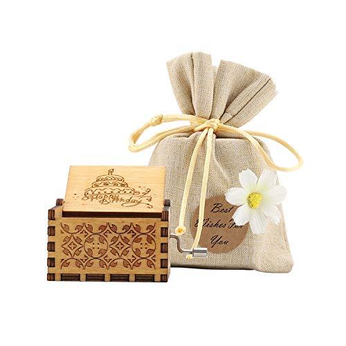 COAWG Hölzerne Spieluhr, Geschnitzte hölzerne Klassische Handkurbel-Spieluhr für Heimdekoration, Basteln, Geburtstagsgeschenk (Happy Birthday)
