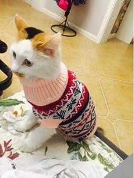 Tineer Manteau de Tricot de Flocon de Neige de Chien d'animal familier, Chiot Chat Pull-Overs Sweater Jacket Hiver Noël vêtements Chauds (XS, Rose)