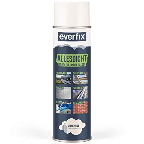 EVERFIX Allesdicht Spray, Dichtspray, Flüssigkunststoff, flüssiger Kunststoff zur Abdichtung, 500 ml, Cremeweiß