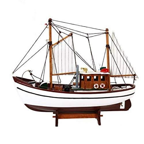 ZKRZ Simulation Angeln Segelboot Modell Holz Handwerk Nautisches Dekor Für Home Office Handbuch Schiffsfiguren Marine Zubehör