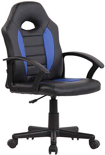 CLP Kinder Bürostuhl Femes I Höhenverstellbarer Schreibtischstuhl Mit Armlehnen I Drehstuhl Mit Leichtlaufrollen, Farbe:schwarz/blau