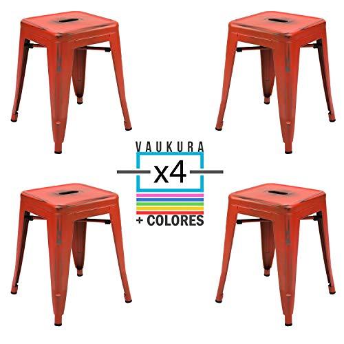 Vaukura Taburete Bajo Tolix (Pack4) - Taburete Industrial Metálico Vintage (Rojo)
