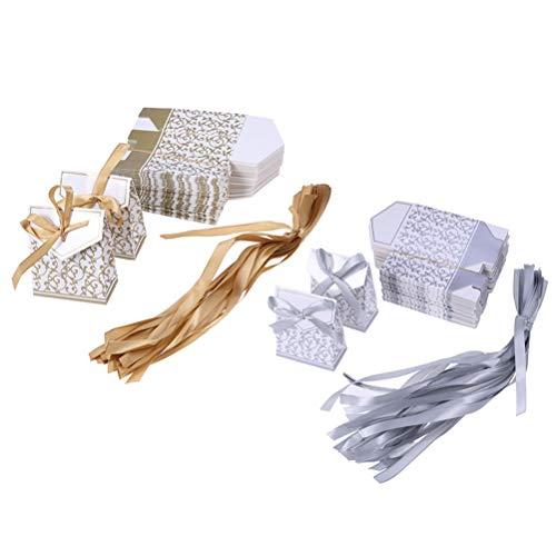 Amosfun Hochzeit Schachtel Süße Geschenkbox mit Bändern Süßigkeiten Schokolade Treat Boxen für Hochzeitsfestbevorzugung (Golden/Silber) 100 Stücke