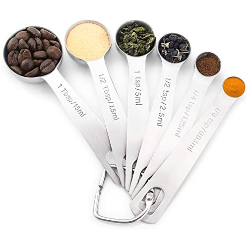 Measuring Spoons Stainless Steel.Set of 6 Metal Measure Cup Spoons for Baking Cooking Kitchen