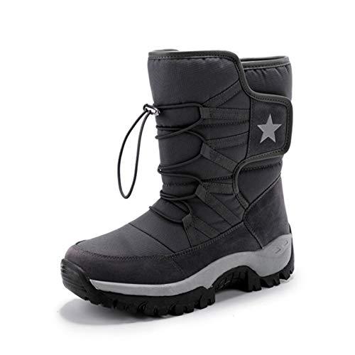 Q-YR Outdoor Snow Boots Winter Herren- Und Damenmode Plus Samt Warme Baumwolle Schuhe rutschfest Kaltbeständig,Grau,41