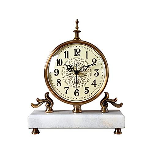GUOQI Modern spiselklocka, dekorativ klocka, tyst urverk, marmorbas, kopparpläteringsprocess, lämplig för vardagsrum, studierum, kontor, etc. vit marmor-A