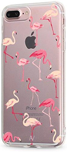 AVANA Cover compatibile con iPhone 7 Plus / iPhone 8 Plus Custodia Slim Case Transparente Cover Silicone TPU Protezione Skin Shell Case Motivo (Fenicottero)