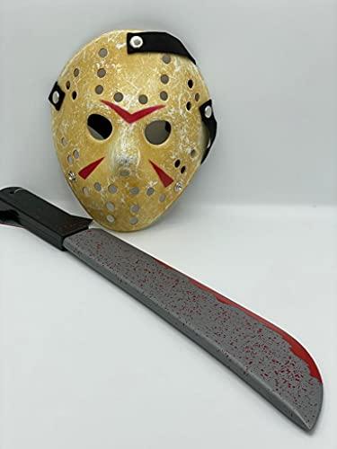 Dreamzfit - Jason Voorhees Friday the 13th Horror Máscara de Hockey, Máscara de hockey de Halloween de miedo + Juguete sangriento falso Cosplay Party Cool Mask Hockey Festival Máscara