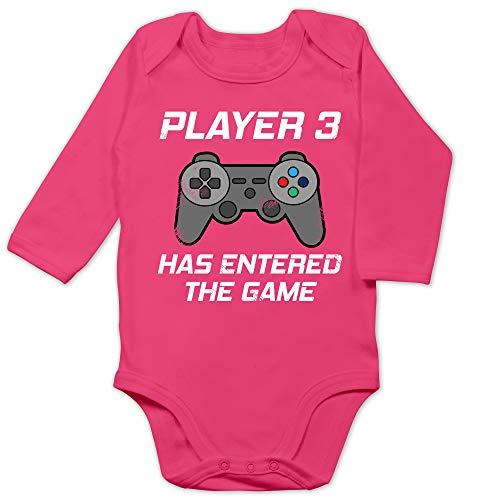 Zur Geburt - Player 3 Has Entered The Game Controller grau - 3/6 Monate - Fuchsia - Baby Body Player 3 - BZ30 - Baby Body Langarm