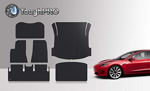 ToughPRO Floor Mats Compatible with Tesla Model 3 - All Weather - Heavy Duty - (Made in USA) - Black...