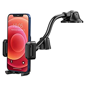 FREE INSTALLATION & UNOBSTRUCTED SIGHT: Mpow focuses on the innovative and smarter mounting solution and blazes past other traditional dashboard car mounts. Up to 15cm/5.9in aluminum long gooseneck sends the dashboard Phone mount much closer to you w...