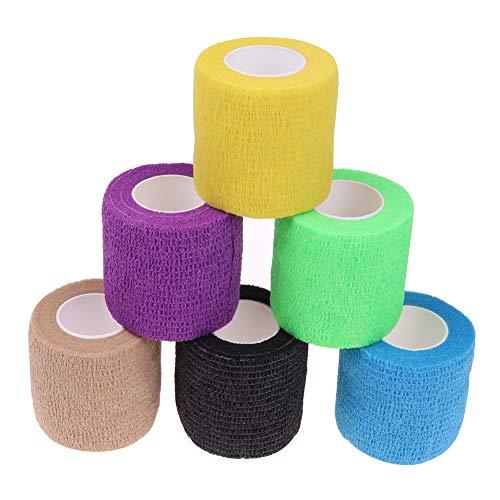Houdao - 6 rollos de cinta adhesiva para perros y caballos, vendas elásticas para deportes, 5 m, para muñeca, rodilla, tobillo y protección deportiva