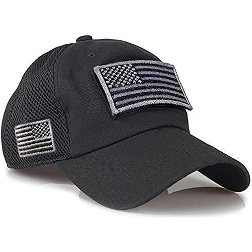KGMO Gorras de béisbol de Camuflaje para Hombre, Gorras Militares de Malla de Verano, Gorras de Camionero construidas con Parches de Bandera de EE. UU, 60 cm, Negro
