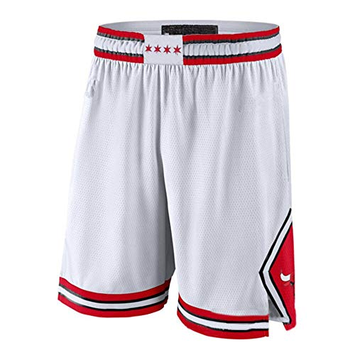 ZXZXING Herren Shorts Basketball Hose Chicago Bulls Hose Mit Chip Bestickte Shorts Swingman Jersey Shorts