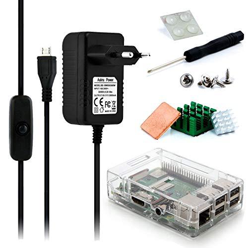 Aukru Caricabatterie 5V 3000mAh Alimentatore con interrupteur on off per Raspberry Pi 3 Modello B+ Plus/Pi 3 con + heatsiks dissipatori e Case Transparente