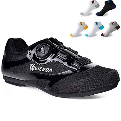 XFQ De Adultos, Zapatos De Ciclo Al Aire Libre Unisex Zapatos De La Bici Informal Malla No Lock Zapatos De Ciclo con 5 Pares De Calcetines Deportivos,Negro,40EU