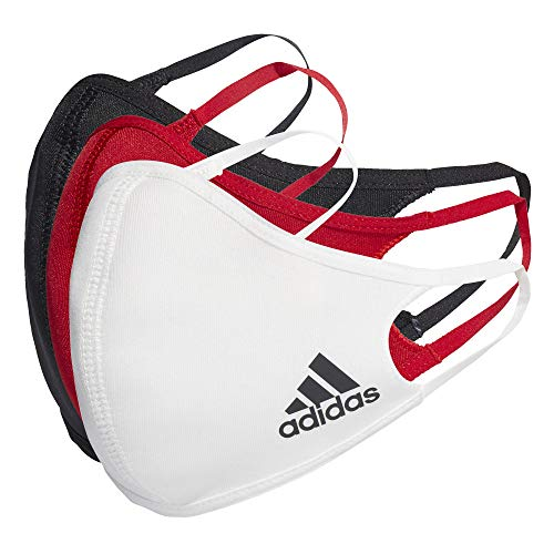 adidas Standard Face Covers 3-Pack, Multicolor/Black/White/Power Red, X-Small/Small