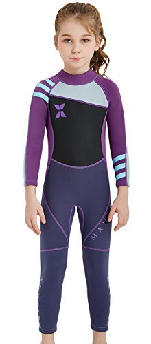 DIVE & SAIL Girls 2.5mm Diving Suit Warm Long Sleeve Full Wetsuit Back Zipper One Piece Swimsuit Purple S