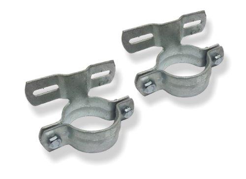 1 Paar (2 Stück) Schellen Rohrschellen ø60mm feuerverzinkt 70mm Lochabstand