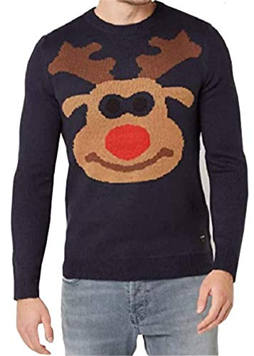ONLY & SONS Herren Pullover mit Rentier-Motiv Strick Pullover weihnachtsmotiv (Blau, XL)