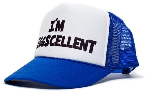I'm Eggscellent Unisex-Adult Trucker Hat -One-Size Royal/White