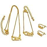 guodong Conjunto De Joyas para Niña Collar De 30Cm / Pulseras De 13Cm Pendientes para Bebé Niño Joyas De Color Dorado Regalos para Bebés